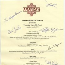 Image of Menu from A Moveable Victorian Feast, Saturday, June 20, 2000 presented by the Hoboken Historical Museum. - Menu