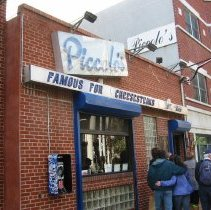 Image of Digital copy of color photo of food tour members outside Piccolo's Clam Bar, 92 Clinton St., Hoboken, Oct. 18, 2003. - Print, Photographic