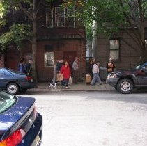Image of Digital copy of color photo of food tour members walking to a tour stop, Hoboken, Oct. 18, 2003. - Print, Photographic