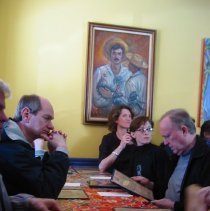 Image of Digital copy of color photo of food tour members inside Zafra Kitchen, 301 Willow Ave., Hoboken, Oct. 18, 2003. - Print, Photographic