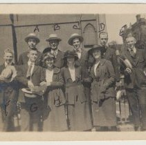 Image of Sepia-tone group photo of people in front of St. Matthew Church, Eighth & Hudson Sts., Hoboken, June 29, 1919. - Print, Photographic