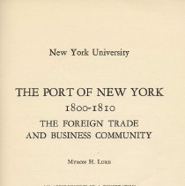 Image of The Port of New York: 1800-1810. The Foreign Trade and Business Community. - Booklet
