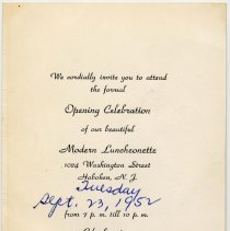 Image of Digital image of an invitation to the Opening Celebration of  Gold's Luncheonette, 1024 Washington St., Hoboken, Sept. 23, 1952. - Invitation