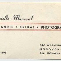 Image of Digital image of the business card of Costello-Manewal, Photographers, 520 Washington St., Hoboken, ca. 1956. - Card, Trade