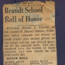 Image of Digital image of newsclipping with Brandt School Honor Roll, Hoboken, no date, ca. 1950. - Newspaper