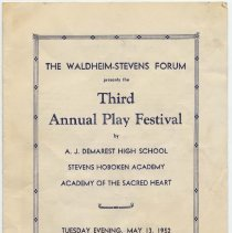 Image of Program: Third Annual Play Festival, The Waldheim-Stevens Forum, 916 Garden St., Hoboken, May 13, 1952. - Program, Theater