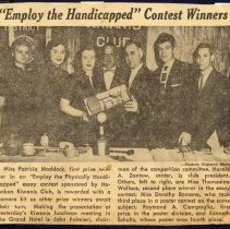 """Image of Digital image of a newsclipping '""""Employ the Handicapped"""" Contest Winners,' Hoboken, no date, ca. 1952-54. - Newspaper"""