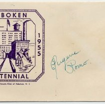 Image of 1955 Centennial postal cachet - Eugene Romo signature