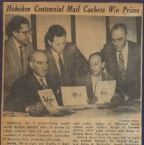Image of Digital image of three newsclippings about the prizes awarded for the Hoboken Centennial Postal Cachet, Hoboken, no date, ca. March 1955. - Program