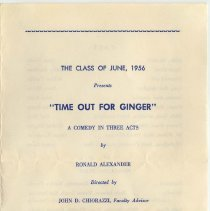 "Image of Program: play ""Time Out for Ginger"" presented by Class of June, 1956, Demarest High School, Hoboken, May 4, 5, [1956.] - Program, Theater"