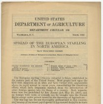 Image of Two U.S. Dept. of Agriculture publications about European Starlings, 1925, 1928. - Documents