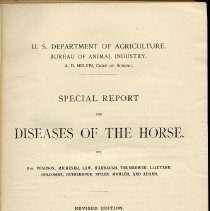 Image of U.S. Department of Agriculture. Bureau of Animal Industry. Special Report on Diseases of the Horse. - Documents