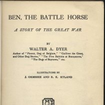 Image of Ben, The Battle Horse; A Story of the Great War. - Book