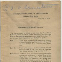 Image of Embarkation Regulations. Headquarters, Port of Embarkation, Hoboken, New Jersey, February 12, 1918. - Manual