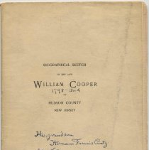Image of Biographical Sketch of the Late William Cooper of Hudson County, New Jersey. - Pamphlet