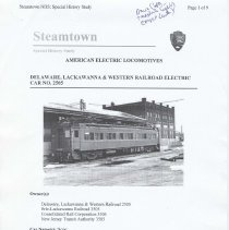 Image of Steamtown NHS, Special History Study: American Electric Locomotives; Delaware, Lackawanna & Western Railroad Electric Car No. 2505. - Monograph