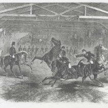 Image of Photographic b+w reproduction: Jeu de Barre. Published wood-engraving in Frank Leslie's Illustrated Newspaper, 1866. - Engraving