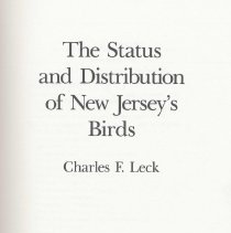Image of The Status and Distribution of New Jersey's Birds. - Book