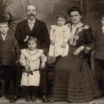 Image of Digital copy of a sepia-tone photo of the Kostelecky family, Hoboken, no date, ca. 1900. - Print, Photographic