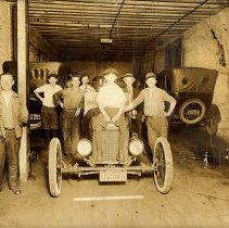 Image of Digital copy of a sepia-tone photo of a garage workshop interior of Kostelecky Brothers, Hoboken, no date, ca. 1925. - Print, Photographic
