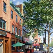 """Image of Digital image of painting """"West Side of Washington Street between First and Second Streets"""" by Frank Hanavan, Hoboken, painted 2002. - Print, Photographic"""