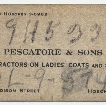 Image of Business card, Pescatore & Sons, Contractors on Ladies' Coats and Suits, Hoboken, no date, ca. 1940-1950. - Card, Trade