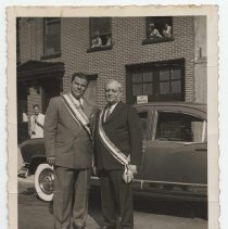 Image of B+W photo of Dominic Pescatore (right) with unidentified man standing on street, Hoboken, no date, ca. 1950. - Print, Photographic