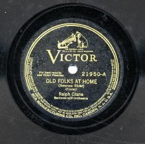 "Image of Record:  ""Old Folks At Home [Swanee River]."" By Stephen Foster. Ralph Crane Baritone with orchestra. Victor 21950. 10 inch 78 rpm. - Record, Phonograph"
