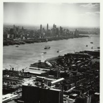 Image of B+W aerial photo of Standard Brands building (Lipton Tea), 15th & Washington Sts., Hoboken Division, July 20, 1951. - Print, Photographic