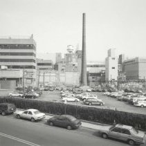 Image of Digital image of B+W photo of former Maxwell House Coffee plant exterior, view from South, Hoboken, 2003. - Print, Photographic