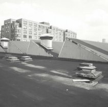 Image of Digital image of B+W photo of former Maxwell House Coffee plant interior, Can Factory, roof, Hoboken, 2003. - Print, Photographic