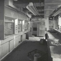 Image of Digital image of B+W photo of former Maxwell House Coffee plant interior, Offices & Laboratory, basement, Hoboken, 2003. - Print, Photographic