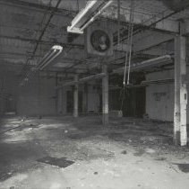 Image of Digital image of B+W photo of former Maxwell House Coffee plant interior, Soluble Building, 2nd floor, Hoboken, 2003. - Print, Photographic