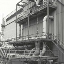 Image of Digital image of B+W photo of former Maxwell House Coffee plant exterior, Silo Building, Hoboken, 2003. - Print, Photographic