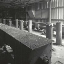 Image of Digital image of B+W photo of former Maxwell House Coffee plant interior, Silo Building, 5th floor, Hoboken, 2003. - Print, Photographic