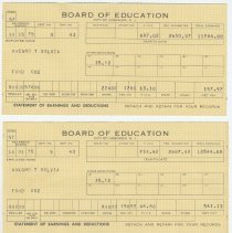 Image of Earning statements (pay stubs), three, of Theresa Sylvia Avegno from the Hoboken Board of Education, 1975. - Documents
