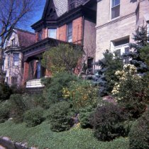Image of Color slide of the exterior and landscaped front yard of 907 Castle Point Terrace, Hoboken, May, 1972. - Transparency, Slide