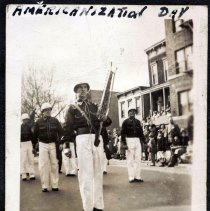 Image of Digital image of b+w photo of members of St. Joseph's Fife, Drum & Bell Corp marching, Americanization Day, Hoboken, 1949. - Print, Photographic