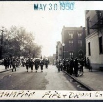 Image of Digital image of b+w photo of Champion Fife & Drum Corp marching, location not given, Memorial Day, Hoboken, May 30,1950 - Print, Photographic
