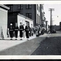 Image of Digital image of b+w photo of Champion or St. Joseph Fife & Drum Corp posed on sidewalk, Hoboken, no date, May 30,1950? - Print, Photographic