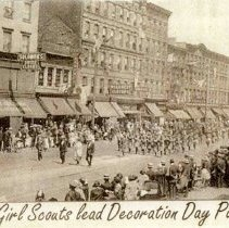 Image of Digital images of printed b+w photo of Hoboken Girl Scouts marching in Decoration Day parade, Hoboken, no date, ca. May, 1922. - Print, Photographic