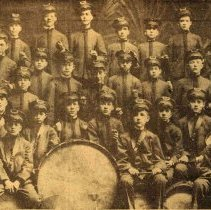 Image of Digital images of printed b+w photo of Hoboken Playground Fife and Drum Corps, Hoboken, 1917. - Print, Photographic