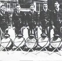 Image of Digital image of photocopy of b+w photo of 5 members of Our Lady of Grace Cadets (Lancers) in yard, Hoboken, 1941-42. - Print, Photographic