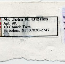 Image of provenance mail label