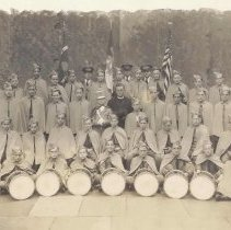 Image of Black-and-white group photo of the Our Lady of Grace [Church, Fife, Drum & Bugle] Columbus Cadet Corps, Hoboken?, 1935. - Print, Photographic