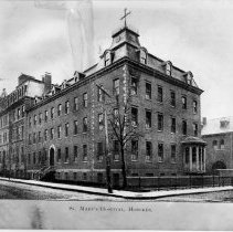 Image of B+W photo of St. Mary's Hospital exterior, Hoboken, no date, ca. 1920. - Print, Photographic