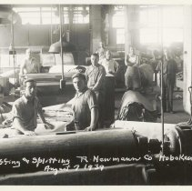 Image of B+W photo of R. Neumann & Co. buffing and splitting department, Hoboken, August 7, 1939. - Print, Photographic