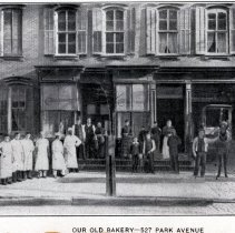 Image of Reference image: exterior of John Schmalz's Model Bakery, 527 Park Avenue, Hoboken, no date, ca. 1888. - Print, Photographic