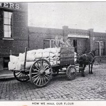 Image of Reference image: exterior view of John Schmalz's Sons' Model Bakery, Hoboken, with horse-drawn flour wagon, no date, ca. 1901-1909. - Print, Photographic