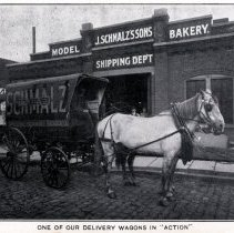 Image of Reference image: exterior view with horse-drawn delivery wagon of John Schmalz's Sons' Model Bakery, Hoboken, no date, ca. 1901-1909. - Print, Photographic